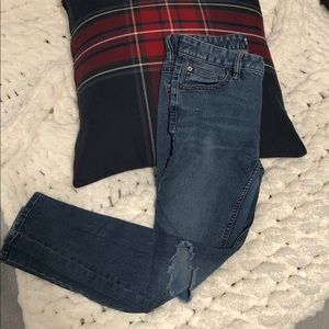 Free People High Rise Busted Skinny Jeans in Navy